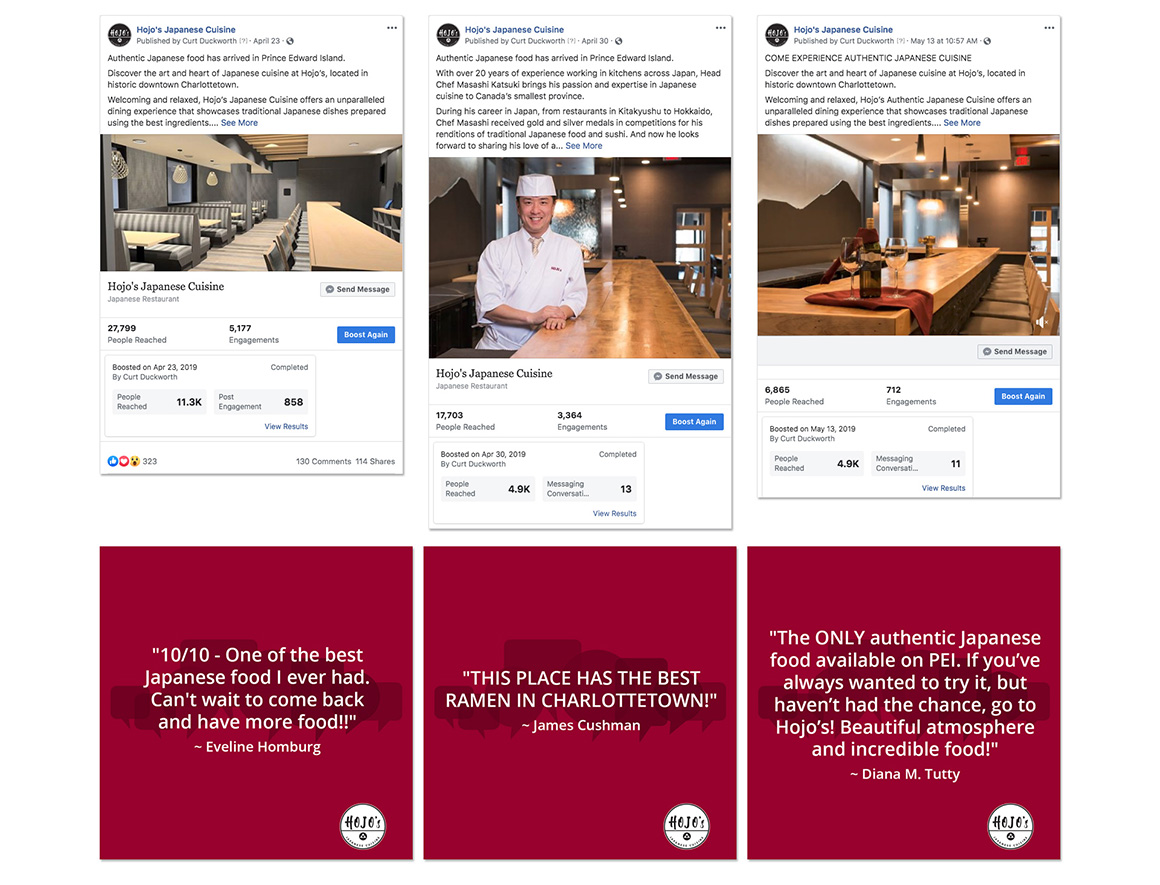 Hojo's Japanese Cuisine social media marketing
