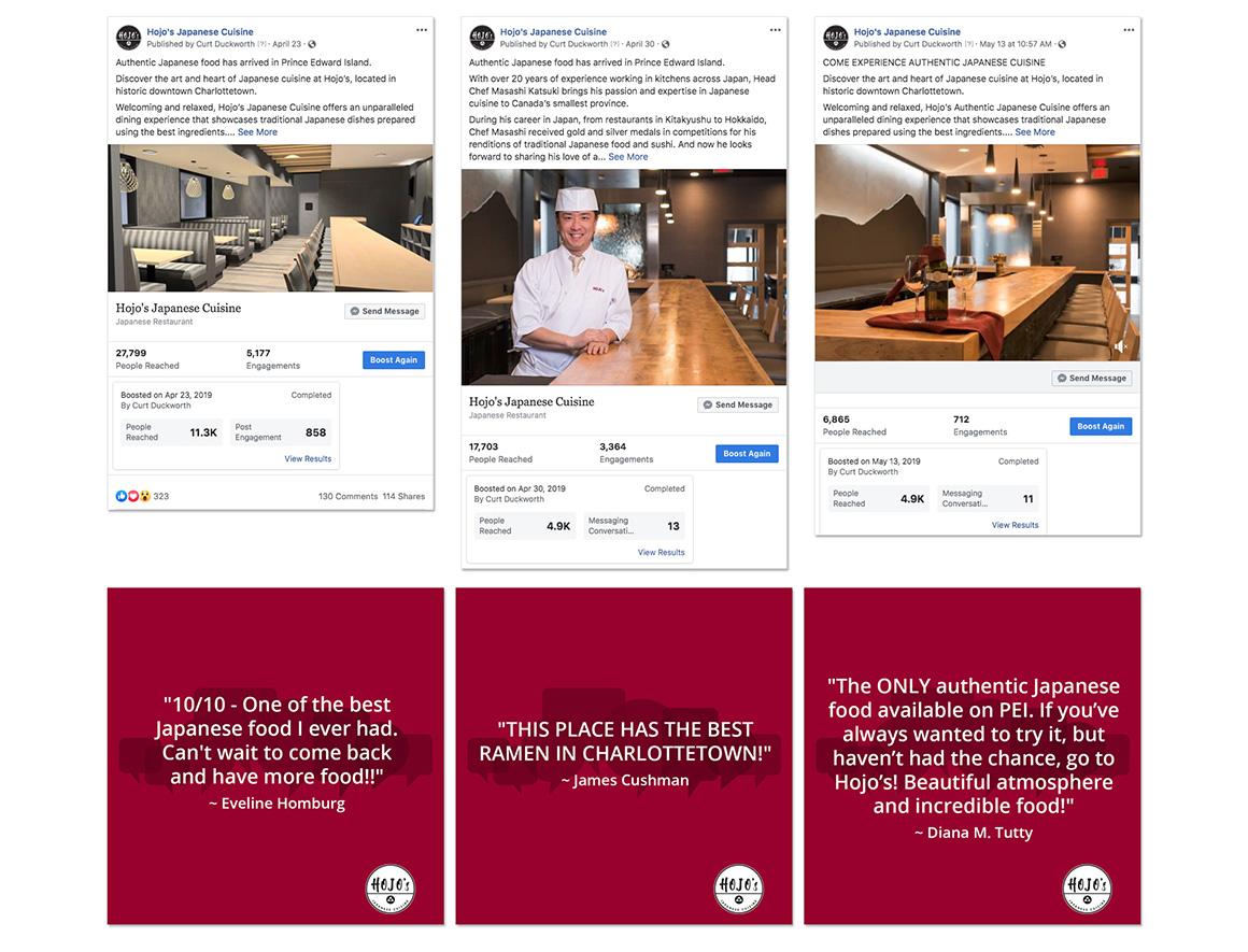 Hojo's Japanese Cuisine social media marketing